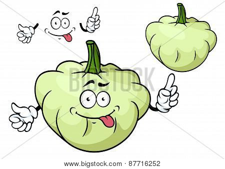 Cartoon pattypan squash vegetable character