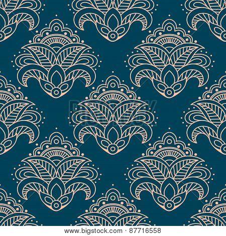 Paisley bell shaped flowers seamless pattern