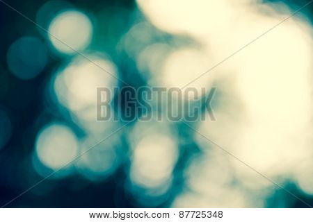 Natural Outdoors Bokeh Light Background, Blue Tone In Shadow And Yellow Tone In Hilight