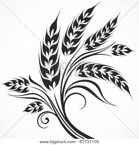 Stylized Ears Of Wheat In Black