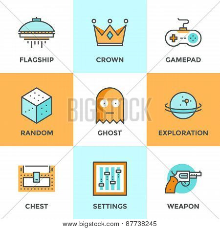 Line icons set with flat design elements of video game computer gaming gamepad console play shooter videogame indie entertainment development. Modern vector logo pictogram collection concept. poster