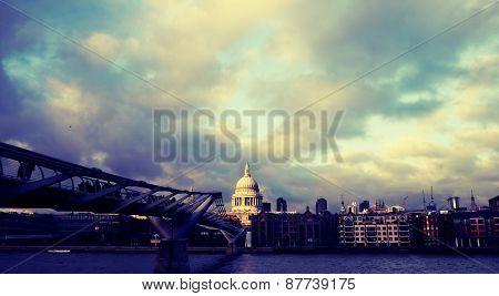 St Pauls looking across Millenium bridge, London, taken 2011. poster