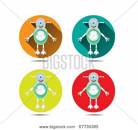 Set, collection of four isolated, round, orange, blue, yellow, red icons, buttons with modern, silve