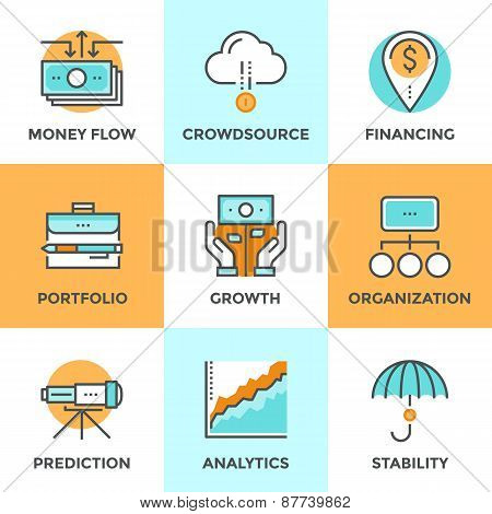 Investing And Financing Line Icons Set