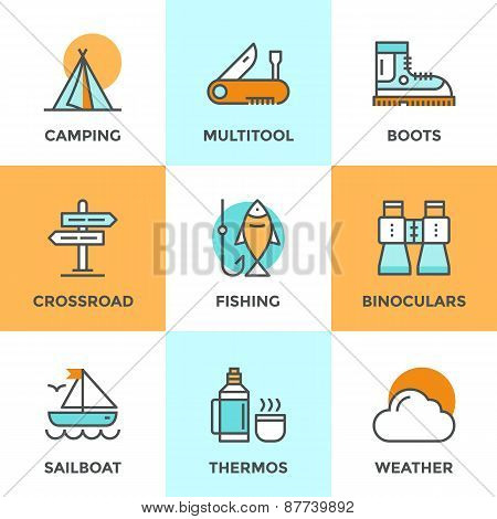 Line icons set with flat design elements of recreation camping activity directional sign crossroad hiking and fishing tent camp outdoor activities. Modern vector logo pictogram collection concept. poster