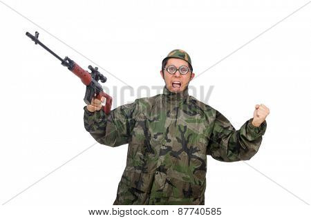 Military man with a gun isolated on white poster