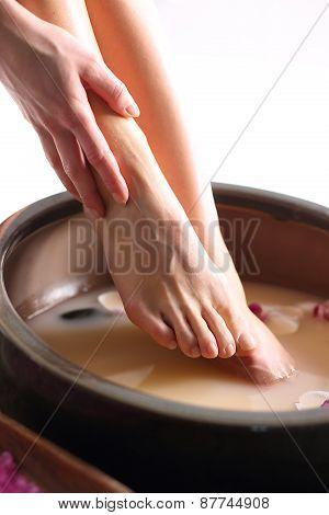 Pedicure, soaking feet