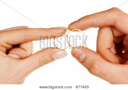 Man Woman Fingers Holding Rings