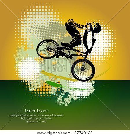 BMX biker. Vector poster