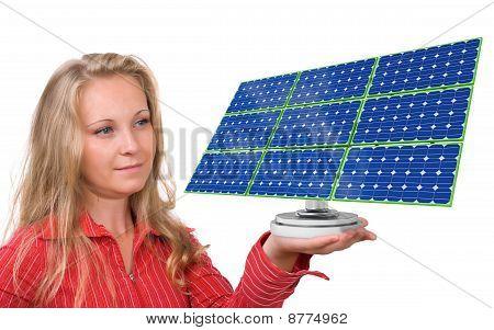 Solar-Panel in woman's hand