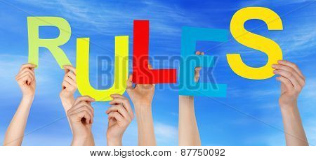 Many People Hands Holding Colorful Word Rules Blue Sky
