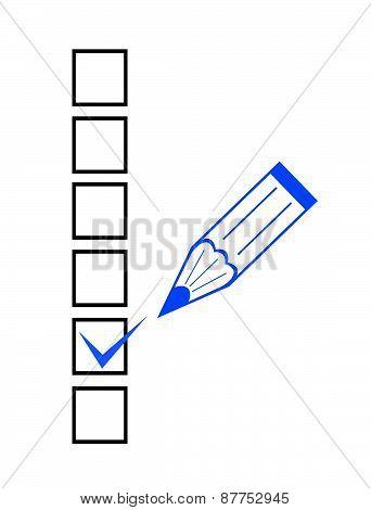 Checklist And Blue Marker Closeup