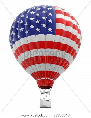 Hot Air Balloon with USA Flag (clipping path included)