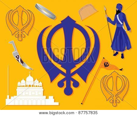 an illustration of elements from sikh history with gurdwara khalsa sikh military emblem flag bracelet comb and kirpan on a saffron background poster