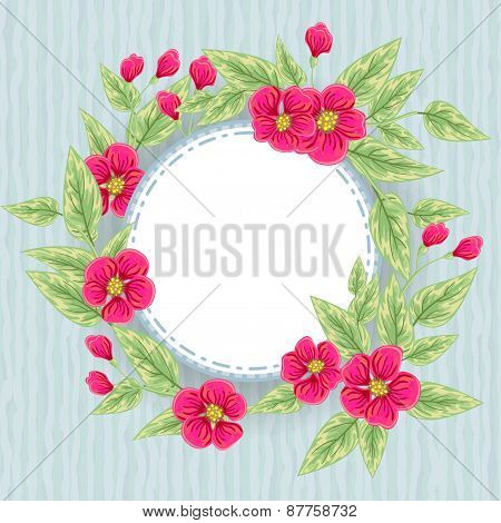 Blue Card With Pink Flowers