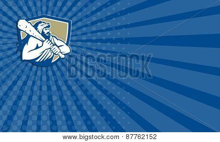 Business Card Hercules Lion Skin Wield Club Shield Retro