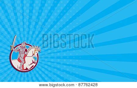 Business Card Knight Riding Horse Sword Circle Cartoon