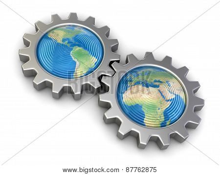 Gears with America and Europe (clipping path included)