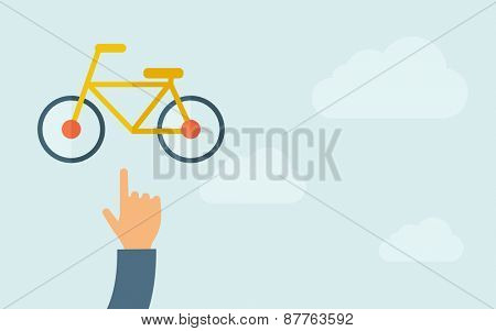 A hand pointing to bicycle icon. A contemporary style with pastel palette, light blue cloudy sky background. Vector flat design illustration. Horizontal layout with text space on right part.