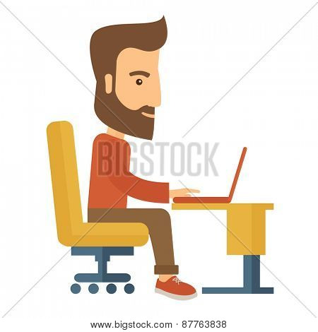 A buisnessman sitting infront of his laptop searching information in computer network. Searching concept. . A contemporary style. Vector flat design illustration with isolated white background. Square