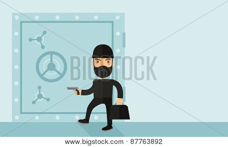 A man wearing black with mask to disguise doing crime hacking bank safe. Criminal, illegal concept. A Contemporary style with pastel palette, soft blue tinted background. Vector flat design