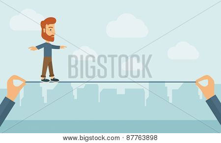A Caucasian businessman walking on wire stretched by two hands balancing himself to achieve his goal in marketing. Determination and great achievement concept. A Contemporary style with pastel palette