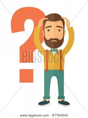 A businessman with a problem standing scratching his head with question marks beside him. A contemporary style. Vector flat design illustration with isolated white background. Vertical layout.