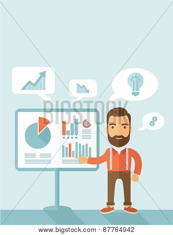 A manager reporting and presenting the show graphs as his m,arketing report on tripod stand inside conference room. Reporting concept. A contemporary style with pastel palette, soft blue tinted