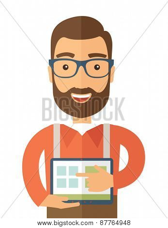 A Caucasian man standing while his hand pointing to the tablet to do his office presentation with the schedule of financial market. Business concept.  A contemporary style. Vector flat design