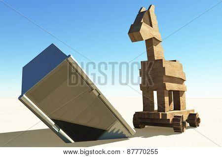 Trojan horse and computer illustration