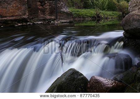water flow in the mountain river