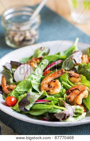 Glazed Ginger Prawn with fresh salad by sea salt poster