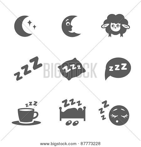 Vector isolated sleep icons set