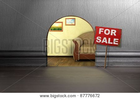 Mouse Hole In Wall With Sign For Sale. House Sale Concept