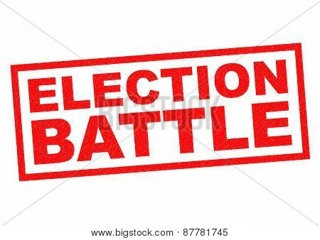 ELECTION BATTLE red Rubber Stamp over a white background. poster