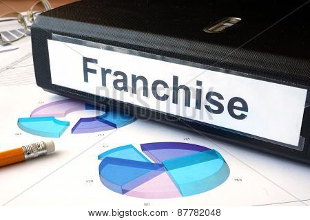 Graphs and file folder with label  franchise.