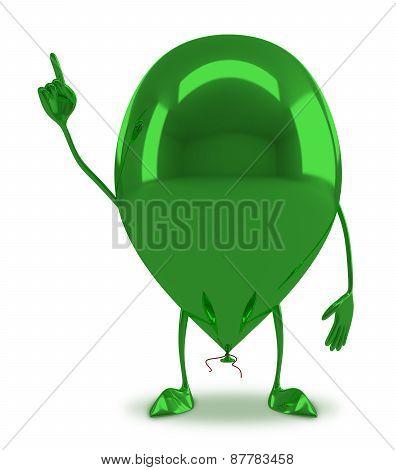 Green Glossy Balloon Character
