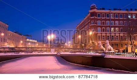 Saint-Petersburg. Russia. The Lion Bridge over the Griboedov Canal poster