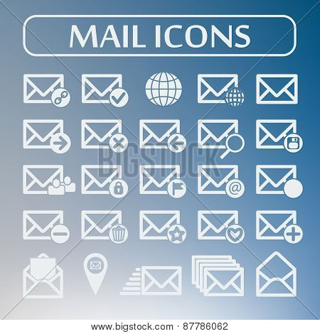 Set of flat vector mail icons. Vector illustration.