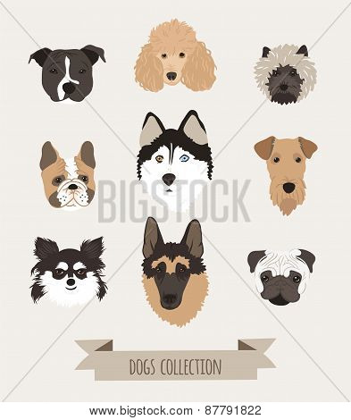 Vector set dogs.