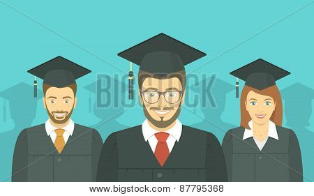 Young People Graduated In Graduation Gowns And Mortarboards