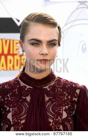 LOS ANGELES - FEB 11:  Cara Delevingne at the MTV Movie Awards 2015 at the Nokia Theater on April 11, 2015 in Los Angeles, CA