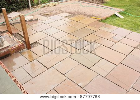 The construction of a sandstone patio