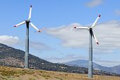 Clusters of wind-powered generators form multi-megawatt wind farms in Central California poster