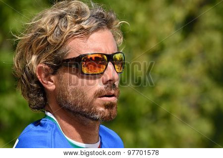 MOSCOW, RUSSIA - JULY 17, 2015: Alessandro Calbucci of Italy in the match of the ITF Beach Tennis World Team Championship against Germany. Italy won the match 3-0