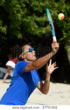 MOSCOW, RUSSIA - JULY 17, 2015: Federica Bacchetta of Italy in the match of the ITF Beach Tennis World Team Championship against Germany. Italy won the match 3-0