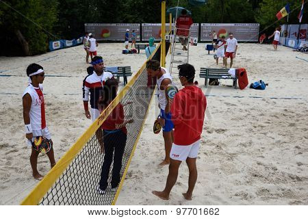 MOSCOW, RUSSIA - JULY 17, 2015: Draw before the match France vs Japan during ITF Beach Tennis World Team Championship. France won the match 3-0