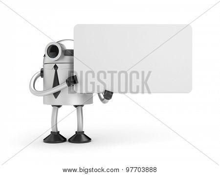 A robot holding a sign