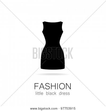 Black dress - classic fashion. Template logo for a clothing store, women's boutique brand women's dresses. poster