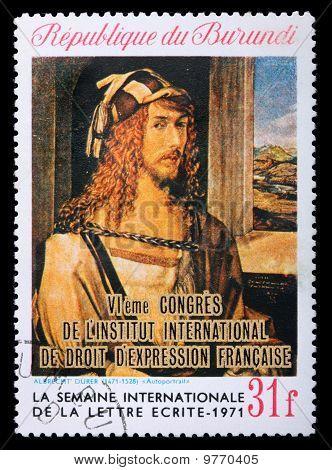 Postage Stamp With Albrecht Durer Self-portrait
